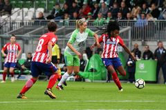 Female soccer player, Ludmilla da Silva, in action during UEFA Women`s Champions League. WOLFSBURG, GERMANY October 11, 2017. Female soccer player, Ludmilla da stock images