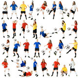 Female soccer players. Collage of female soccer players on white background Stock Images