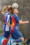 Female soccer players. Female soccer or football players pictured in action during the game between Fair-Play Bucharest and FCM Targu-Mures, Romanian Women First Royalty Free Stock Image