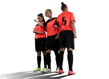 Female soccer players in wall isolated on white stock photo