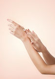 Female soft skin hands Stock Photos