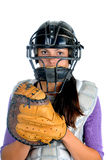 Female Softball Catcher Stock Photo