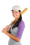 Female Softball Player Bat on Shoulder Royalty Free Stock Image