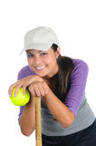Female Softball Player Leaning on Bat Stock Photos