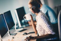 Female software developer working for IT company. As programmer royalty free stock photography