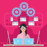 Female Software Engineer. Software engineer concept with young business woman in front of computers Stock Photos