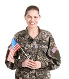 Female soldier with American flag stock photo
