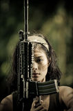 Female soldier close up. Close up photo of female soldier Royalty Free Stock Photos