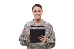 Female soldier with digital tablet Royalty Free Stock Photography