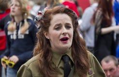 Female Soldier in Edinburgh Stock Images