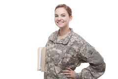 Female soldier with hand on hip Stock Photography
