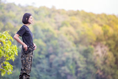 Female soldier. On the nature background stock photography