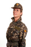 Female soldier standing to attention Stock Photo