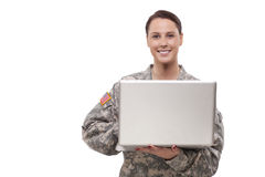 Female soldier using laptop Royalty Free Stock Photo
