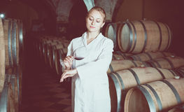 Female sommelier in wine cellar. Portrait of professional taster of winery posing with wine in cellar Stock Photography