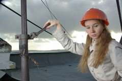 Female in a spanner Stock Image