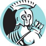 Female Spartan Warrior Circle Retro Stock Photos