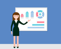 Female Speaker Giving Presentation Using Diagrams and Charts Stock Photos