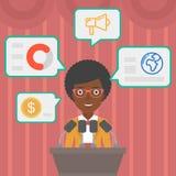 Female speaker on the podium vector illustration. stock illustration