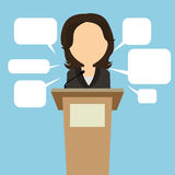 Female speaker with speech bubbles. Royalty Free Stock Photo