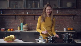 Female speaking cook lunch in apartment. stock footage