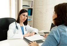 Female specialist doctor listening to woman patient explaining her symptoms and health problems. Female family doctor listening carefully with sympathy to women stock photography