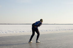 Female speed skater on natural ice Royalty Free Stock Image
