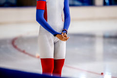 Female speed skater prepared to start Royalty Free Stock Image