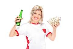 Female sport fan Stock Images