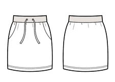 Free Female Sport Skirt Vector Template Isolated. Front And Back View. Stock Photography - 217742072