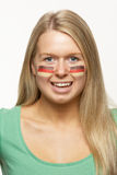 Female Sports Fan With German Flag  On Royalty Free Stock Photography