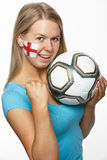 Female Sports Fan With St Georges Flag On Face Royalty Free Stock Photo