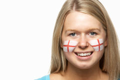 Female Sports Fan With St Georges Flag On Face royalty free stock images