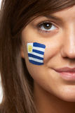 Female Sports Fan With Uruguayan Flag Stock Photo