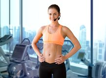 Female sports trainer with microphone Stock Photos