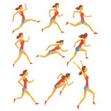 Female Sportswoman Running The Track With Obstacles And Hurdles In Red Top And Blue Short In Racing Competition Set Of. Illustrations. Cartoon Character Stock Photography