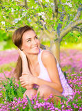 Female on springtime backyard Royalty Free Stock Photography