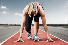 Runner start runway Royalty Free Stock Photo