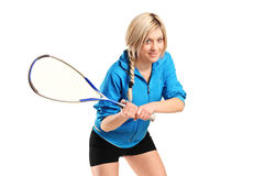 Female squash player posing Royalty Free Stock Photo