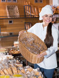 Female staff in local bakery Stock Image