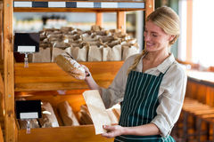 Female staff packing a bread in paper bag Stock Photos