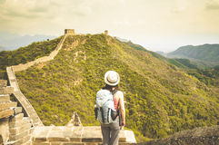 Female standing on great wall by Jinshaling Royalty Free Stock Images