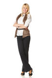 Female Standing With Folded Hands Royalty Free Stock Images