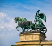 The female statue of Peace. Millennium Monument on Heroes` Square in Budapest, Hungary.  stock photo