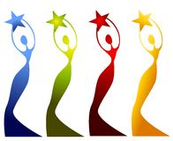 Female Statues Holding Stars. A clip art illustration of a female figure or statue in gradient silhouette with swirling lines holding stars above their heads Stock Images