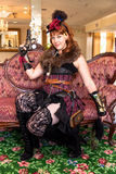 Female Steampunk weapons handler Stock Images