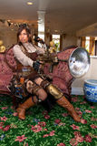 Female Steampunk weapons specialist Royalty Free Stock Photo