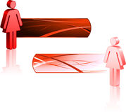 Female Stick Figures with Banners Stock Images