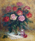 A female still-life with roses. Jewelry and perfume Royalty Free Stock Photography