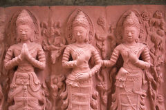 Female stone carvings. At Wat Tai Phra Chao Yai Ong Tue,Ubonratchathani Province,Thailand Stock Photo